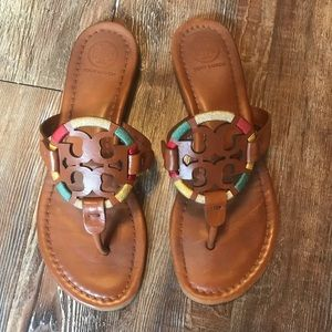 Tory Burch Embroidered Leather Miller Sandal